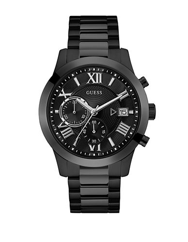 Guess Dress Chronograph W0668G5 Black Stainless Steel Bracelet Watch-BLACK-One Size