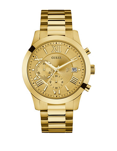 Guess W0668G4 Chronograph Goldtone Bracelet Watch-GOLD-One Size