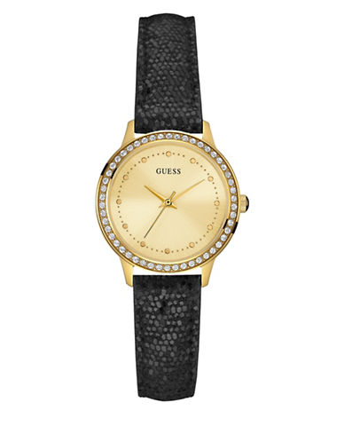 Guess Black Glitter Top Leather Watch W0648L13-GOLD-One Size plus size,  plus size fashion plus size appare