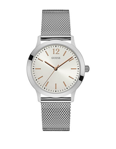 Guess W0921G1 Analog Silvertone Mesh Bracelet Watch-SILVER-One Size