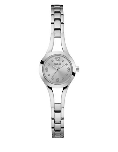 Guess Analog Silvertone Bracelet Watch 25mm W0912l1-SILVER-One Size