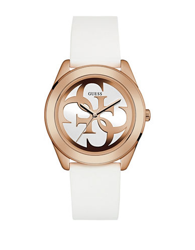 Guess W0911L5 Analog Rose-Goldtone Case White Silicone Strap Watch-WHITE-One Size