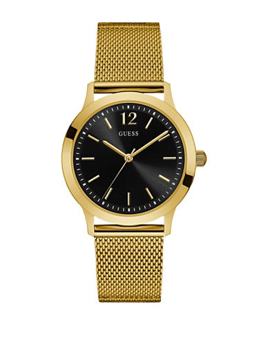 Guess Analog Black Dial Goldtone Mesh Bracelet Watch-GOLD-One Size