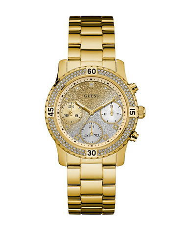 Guess Pave Goldtone Bracelet Watch W0774L5-GOLD-One Size