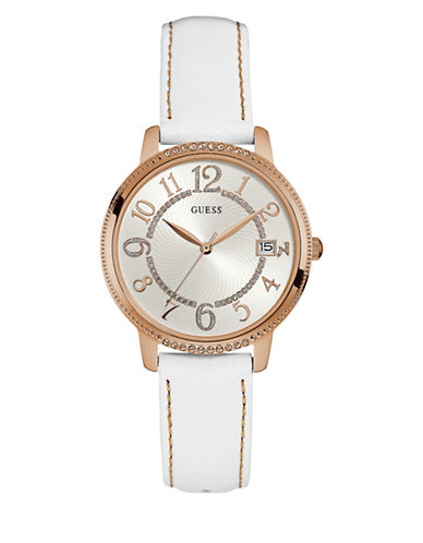 Guess Analog Kismet Goldtone Leather Strap Watch-WHITE-One Size