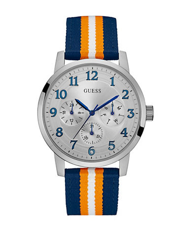 Guess Chronograph Stainless Steel Canvas Strap Watch-BLUE MULTI-One Size