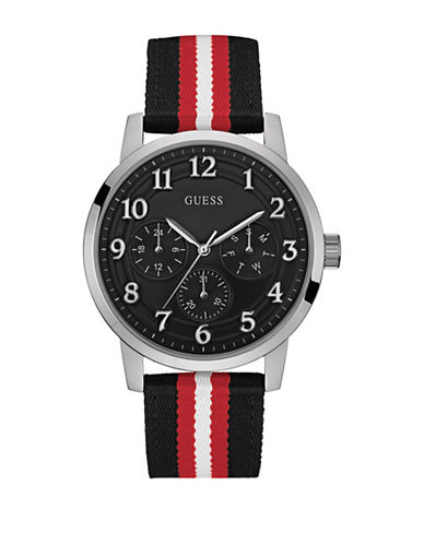Guess W0975G1 Chronograph Tri-Tone Canvas Strap Watch-BLACK-One Size