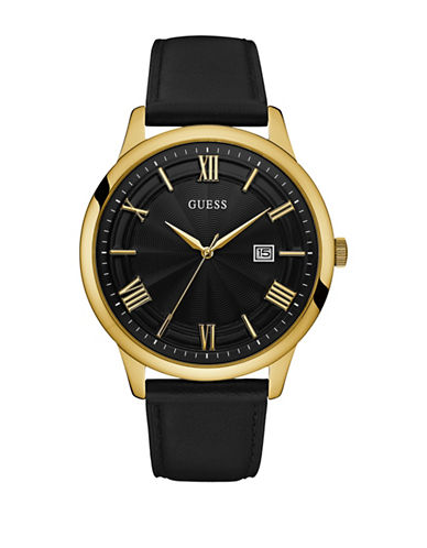 Guess Night Life Two-tone Leather Strap Watch-BLACK-One Size
