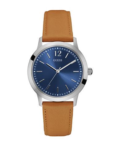 Guess W0922G8 Analog Silvertone Case Tan Leather Strap Watch-BROWN-One Size