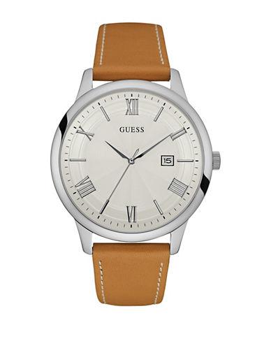 Guess W0972G1 Analog Silvertone Case Tan Leather Strap Watch-BROWN-One Size