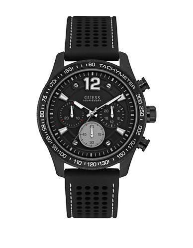 Guess W0971G1 Chronograph Black Silicone Strap Watch-BLACK-One Size
