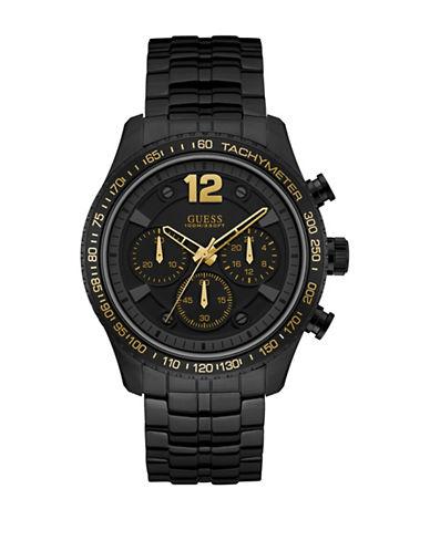 Guess Chronograph Fleet Black IP Bracelet Watch-BLACK-One Size