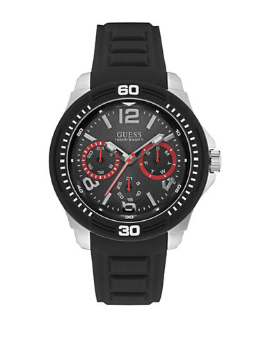 Guess W0967G1 Chronograph Black Silicone Strap Watch-BLACK-One Size