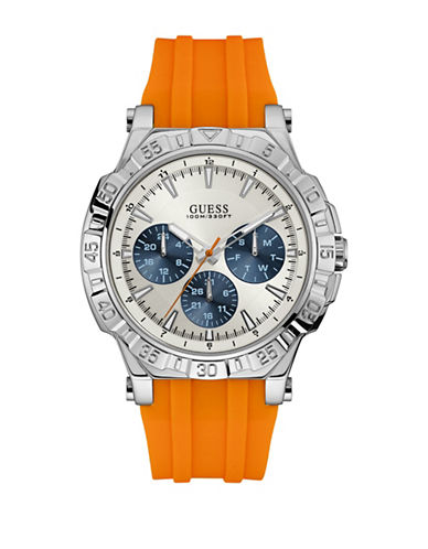 Guess Chronograph Turbo Stainless Steel Silicone Strap Watch-BROWN-One Size