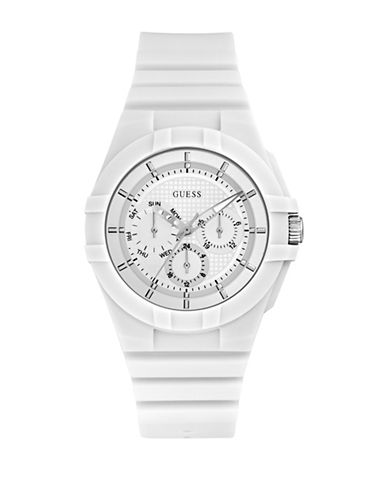 Guess Chronograph White Silicone Strap Watch W0942L1-WHITE-One Size