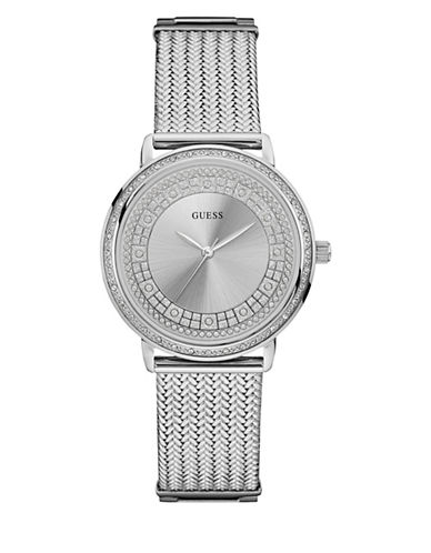 Guess Analog Silvertone Bracelet Watch 36mm W0836l2-SILVER-One Size