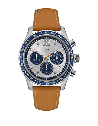 Guess W0970G1 Chronograph Tan Leather Strap Watch-BROWN-One Size