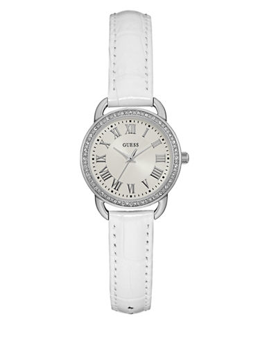 Guess Analog White Leather Strap Watch 27mm W0959l1-WHITE-One Size