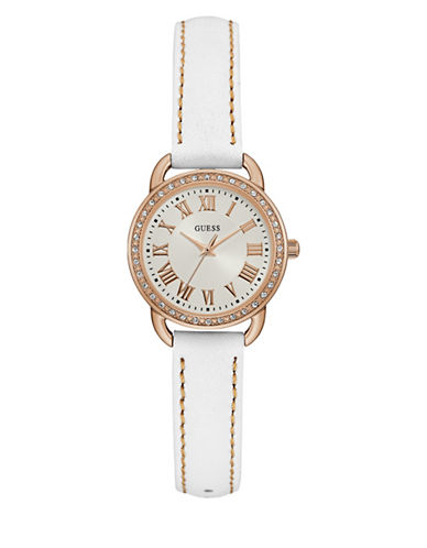 Guess W0959L3 Analog Rose-Goldtone Two-Tone Leather Strap Watch-WHITE-One Size