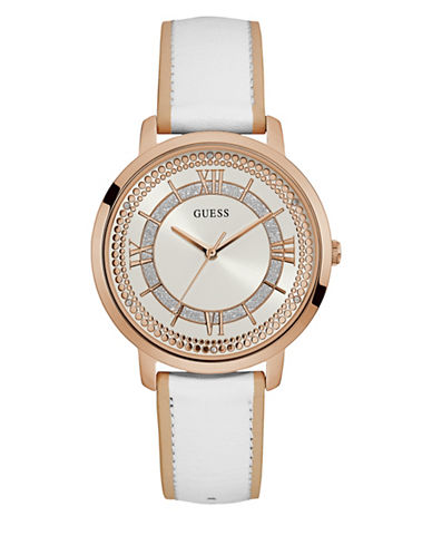 Guess W0934L1 Analog Rose-Goldtone Two-Tone Leather Strap Watch-WHITE-One Size