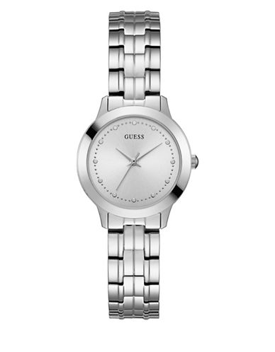 Guess Analog Silvertone Bracelet Watch 30mm W0989l1-SILVER-One Size