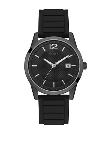Guess Black Silicone Strap Watch 42mm W0991G3-BLACK-One Size