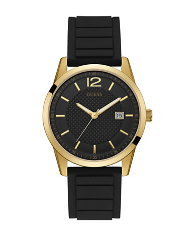 Guess Goldtone and Black Silicone Strap Watch 42mm W0991G2-BLACK-One Size