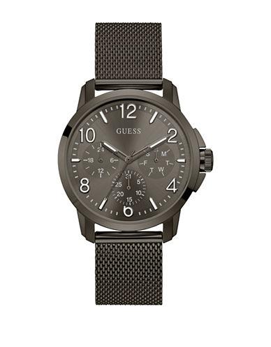 Guess Chronograph Gunmetal-Tone Mesh Bracelet Watch-BLACK-One Size