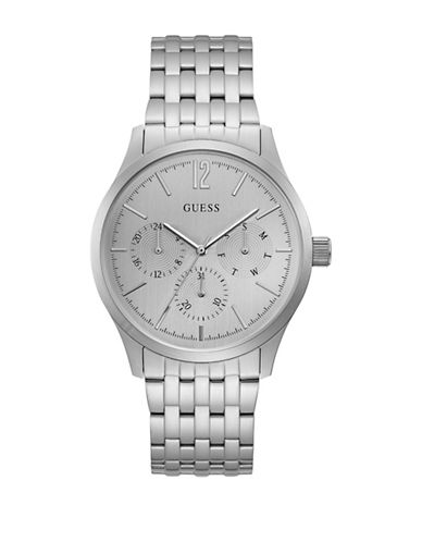 Guess Chronograph Brushed Silvertone Link Bracelet Watch-SILVER-One Size