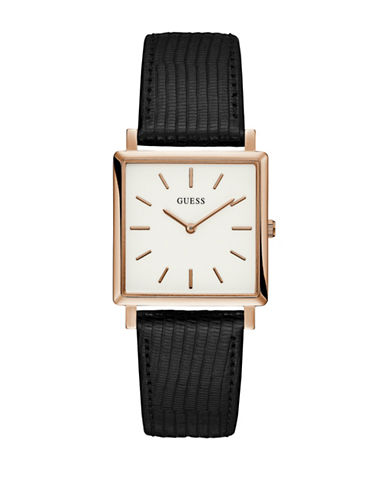 Guess Analog Rosegold-Tone Square Case Black Leather Strap Watch-BLACK-One Size