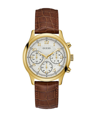 Guess Chronograph Goldtone Croc-Embossed Brown Leather Strap Watch-GOLD-One Size