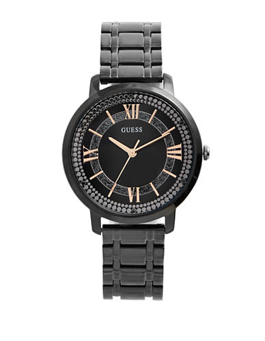 Guess Analog Dotted Dial Black IP Bracelet Watch-BLACK-One Size