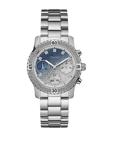 Guess Chronograph Confetti Dial Silvertone Bracelet Watch-SILVER-One Size