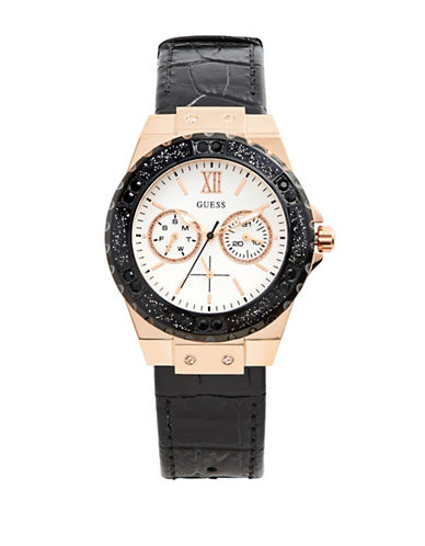 Guess Chronograph Rose-Goldtone and Black Croc-Embossed Leather Strap Watch-ROSE GOLD-One Size