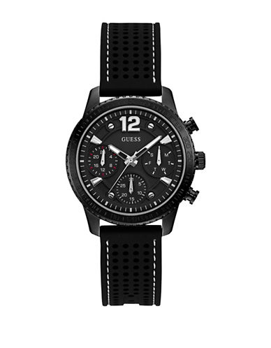 Guess Chronograph Black Perforated Silicone Strap Watch-BLACK-One Size