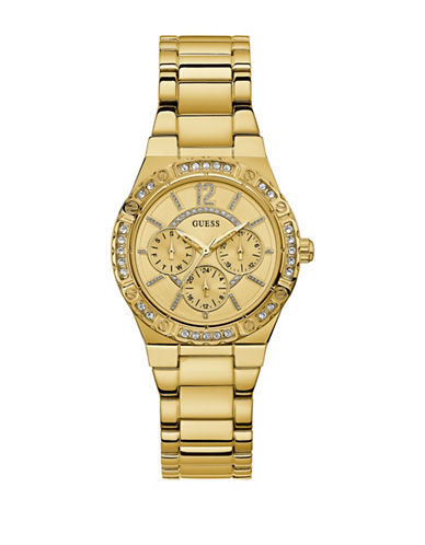 Guess Chronograph Crystal Bezel Goldtone Bracelet Watch-GOLD-One Size