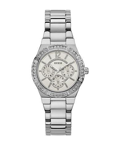 Guess Chronograph Crystal Bezel Silvertone Bracelet Watch-SILVER-One Size