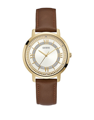 Guess Analog Goldtone Brown Leather Strap Watch-GOLD-One Size