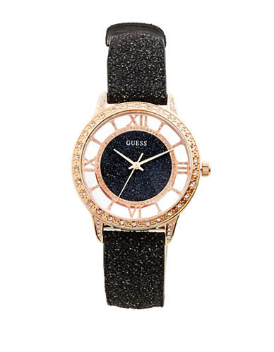 Guess Analog Crystal-Studded Case Black Speckled Leather Strap Watch-ROSE GOLD-One Size
