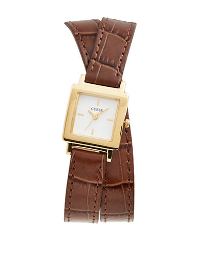 Guess Analog Square Case Double Embossed Brown Leather Strap Watch-GOLD-One Size