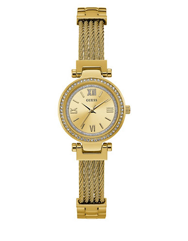 Guess Analog Braided Mini Goldtone Bracelet Watch-GOLD-One Size