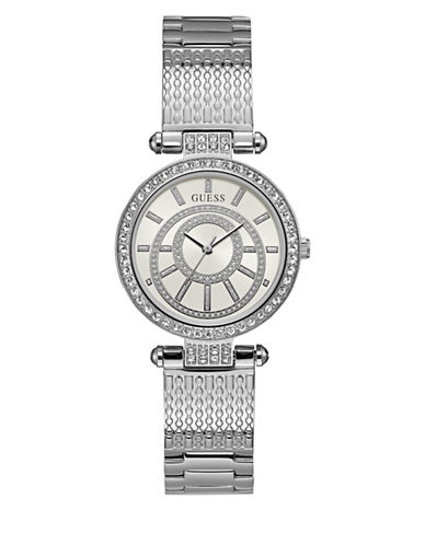 Guess Analog Crystal Bezel Hinged Silvertone Bracelet Watch-SILVER-One Size
