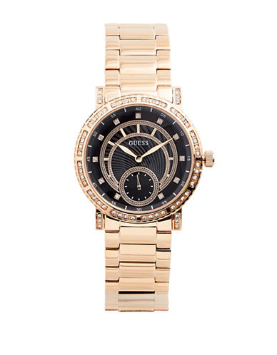 Guess Analog Crystal Rose-Goldtone Stainless Steel Bracelet Watch-ROSE GOLD-One Size