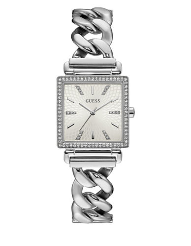 Guess Analog Curb Chain Silvertone Bracelet Watch-SILVER-One Size