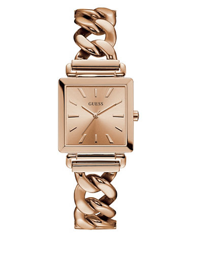 Guess Analog Curb Chain Rose-Goldtone Bracelet Watch-ROSE GOLD-One Size