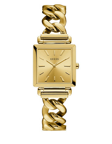 Guess Analog Curb Chain Goldtone Bracelet Watch-GOLD-One Size