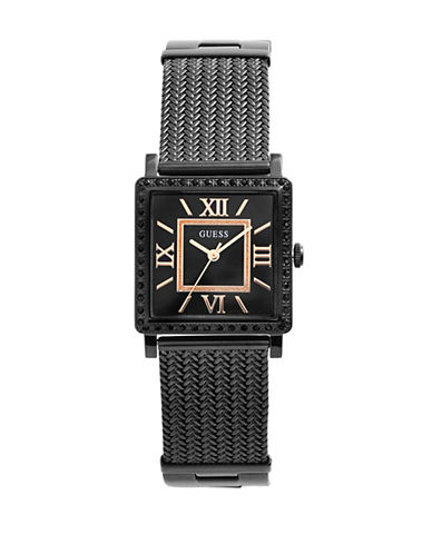 Guess Analog Square Case Black IP Herringbone Bracelet Watch-BLACK-One Size