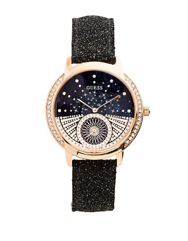 Guess Chronograph Embellished Dial Black Speckled Leather Strap Watch-ROSE GOLD-One Size