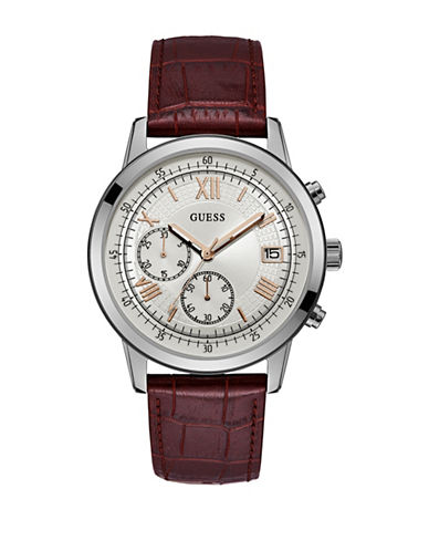Guess Chronograph Silvertone Roman Croc-Embossed Leather Strap Watch-BLACK-One Size