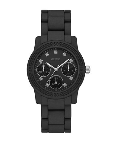 Guess Chronograph Crystal Bezel Black Silicone Strap Watch-BLACK-One Size